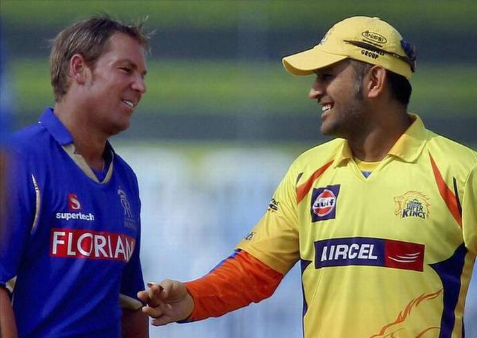 Shane Warne (left) (RR) and MS Dhoni (CSK) - AP