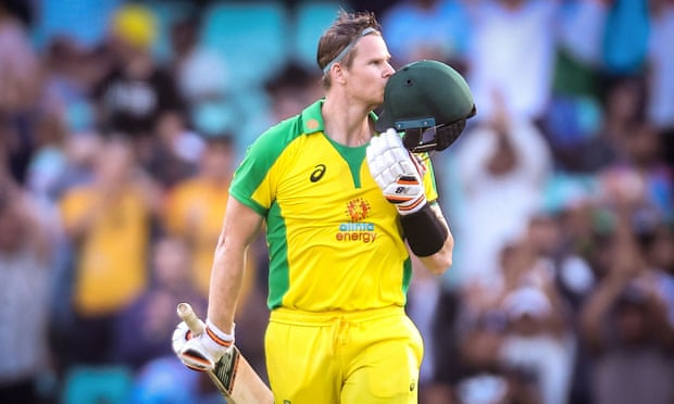 Steve Smith celebrates reaching his century in Australia's comfortable win over India in the first ODI at the SCG. Photograph: David Gray/AFP/Getty Images
