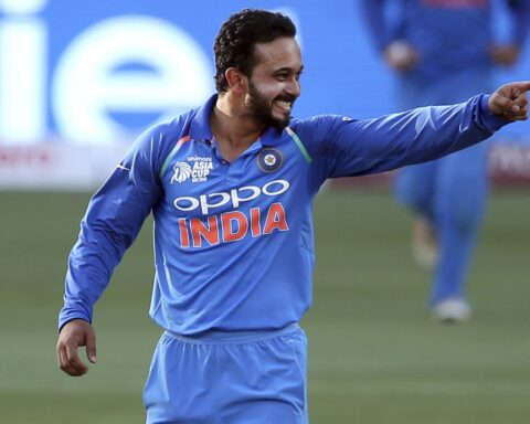 Kedar Jadhav is overjoyed after he gets a wicket Associated Press