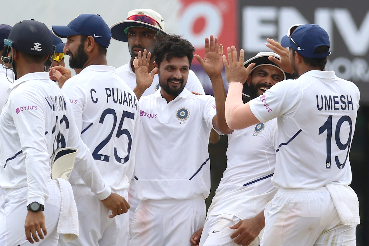 Shahbaz Nadeem of India celebrates the wicket of Temba Bavuma of South Africa during day three of the third test match between India and South Africa held at the JSCA International Stadium Complex, Ranchi India on the 21st October 2019 Photo by Deepak Malik / SPORTZPICS for BCCI