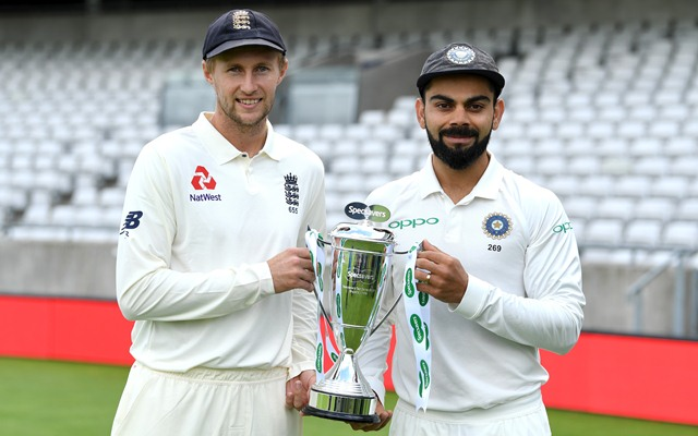 England captain Joe Root and India captain Virat Kohli hold the series trophy (Photo by Gareth Copley/Getty Images)