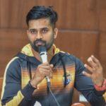 R Vinay Kumar R addresses the media in Bengaluru on Monday. DH Photo/ S K Dinesh