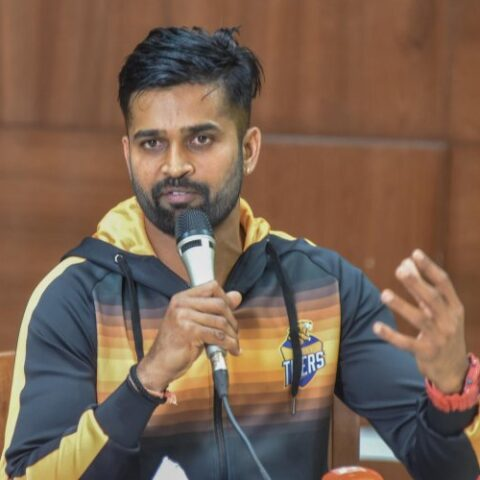 R Vinay Kumar R addresses the media in Bengaluru on Monday. DH Photo/ S K Dinesh