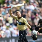 Martin Guptill gestures to the crowd after being dismissed. En route to his 97, Guptill overtook Rohit Sharma to top the list for most sixes by a batsman in T20Is. - AP