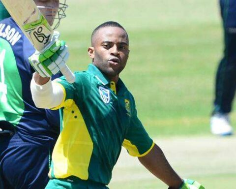 Bavuma, dropped on one, scored 113 as South Africa reached 354 for five. Source: twitter