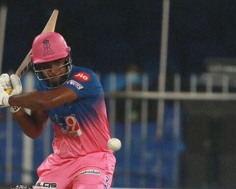 Rajasthan Royals' Sanju Samson in action during IPL 2020 | Sportzpics for BCCI