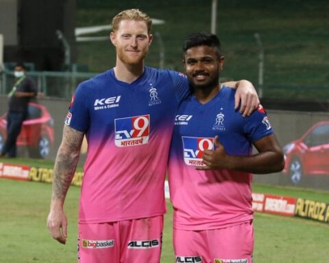 Rajasthan Royals batsmen Ben Stokes and Sanju Samson pose for the cameras after their match-winning knock against Mumbai Indians in the the IPL match in Abu Dhabi on Sunday. Photograph: BCCI/IPL