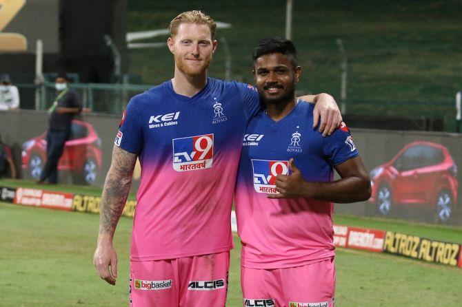 Rajasthan Royals batsmen Ben Stokes and Sanju Samson