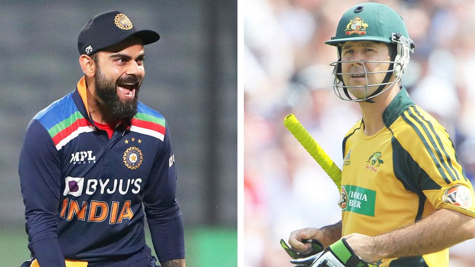 Virat Kohli (pictured left) surpassed Ricky Ponting (pictured right) as the fastest player to score 10,000 runs on home soil.(Getty Images)