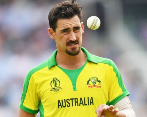 Australia's Mitchell Starc prepares to bowl during the World Cup group stage match against England at Lord's Cricket Ground in London. Image Credit: AFP