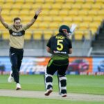 New Zealand speedster Tim Southee reacts after hitting Aaron Finch's pads in the third T20I in Wellington on Wednesday. - AP