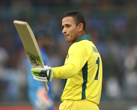 Usman Khawaja of Australia celebrates scoring his century during game five of the One Day International series between India and Australia at Feroz Shah Kotla Ground on March 13, 2019 in Delhi, India. (Photo by Robert Cianflone/Getty Images)