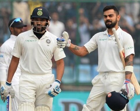 Virat Kohli with Rohit Sharma during the home series against Sri Lanka IMAGE: AFP