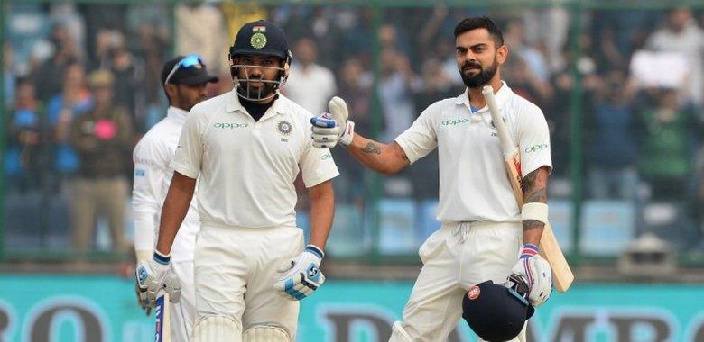 Virat Kohli with Rohit Sharma during the home series against Sri Lanka IMAGE: AFP