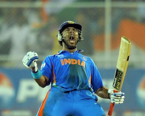 Yuvraj Singh celebrates after guiding India to victory against Australia in the quarter-finals of the 2011 ODI World Cup | AFP / Manan Vatsyayana