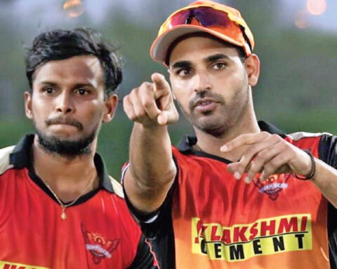 Bhuvneshwar Kumar and T. Natarajan. Picture courtesy: Sunrisers/IPL