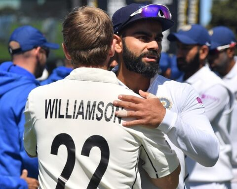 Virat Kohli congratulates Kane Williamson Getty Images
