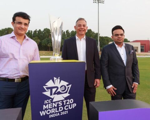Sourav Ganguly (BCCI president), Manu Sawhney (ICC chief executive) and Jay Shah (BCCI secretary) pose with the T20 World Cup International Cricket Council