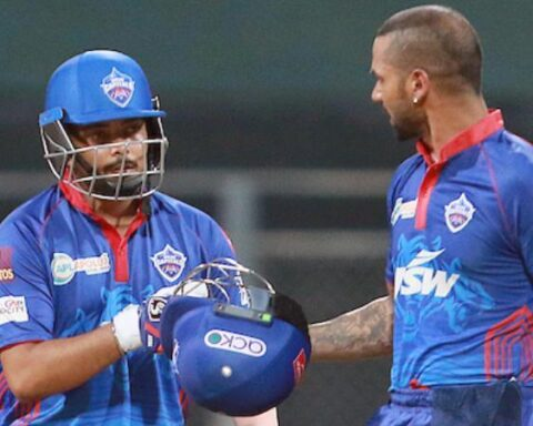 Shikhar Dhawan and Prithvi Shaw of Delhi Capitals during match 2 of the Vivo Indian Premier League. (Photo | ANI)