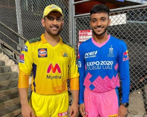 RR pacer Chetan Sakariya met CSK skipper MS Dhoni after the match.