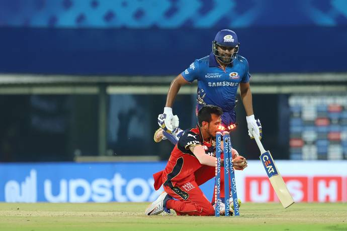 Mumbai Indians' Rohit Sharma was run out for 19. - BCCI/IPL