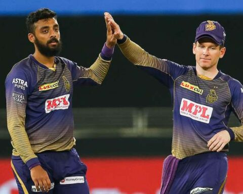 Image Source : PTI Varun Chakravarthy and Eoin Morgan