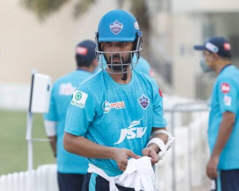 Delhi Capitals' opener Ajinkya Rahane during a training session. - IPL