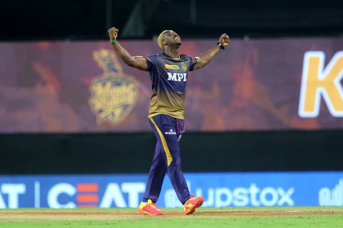 Andre Russell celebrates a wicket on Tuesday. - BCCI/IPL