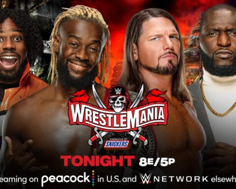 WWE WrestleMania 37. The New Day vs. AJ Styles and Omos