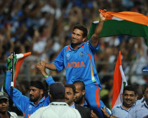 Sachin Tendulkar carried on the shoulders of his teammates after the 2011 World Cup win | AFP