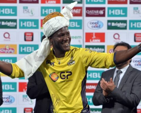 Darren Sammy goes traditional after Peshawar Zalmi's PSL title win in 2017 AFP via Getty Images