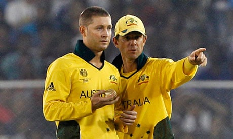 Ricky Ponting, right, is set to be replaced as Australia captain by Michael Clarke. Photograph: Aijaz Rahi/AP