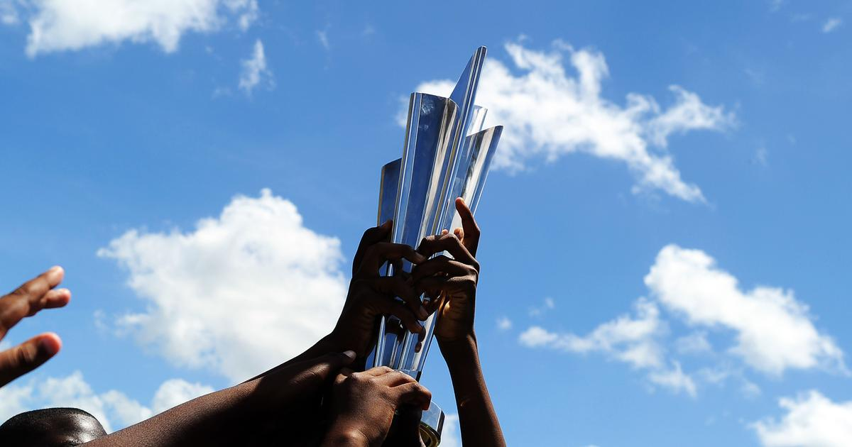 Representational image of the ICC Men's T20 World Cup trophy | AFP / Jewel Samad