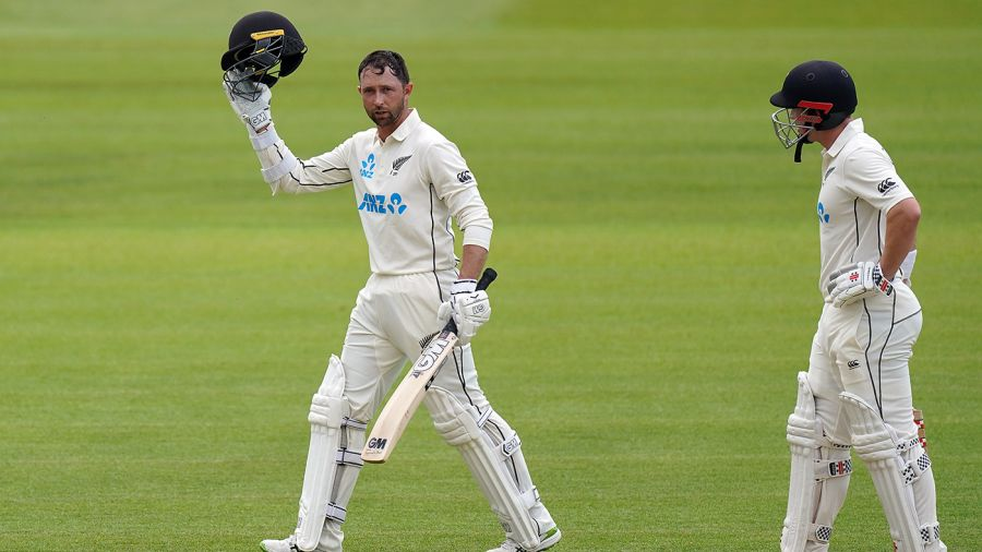 Devon Conway celebrates his century on debut PA Images via Getty Images