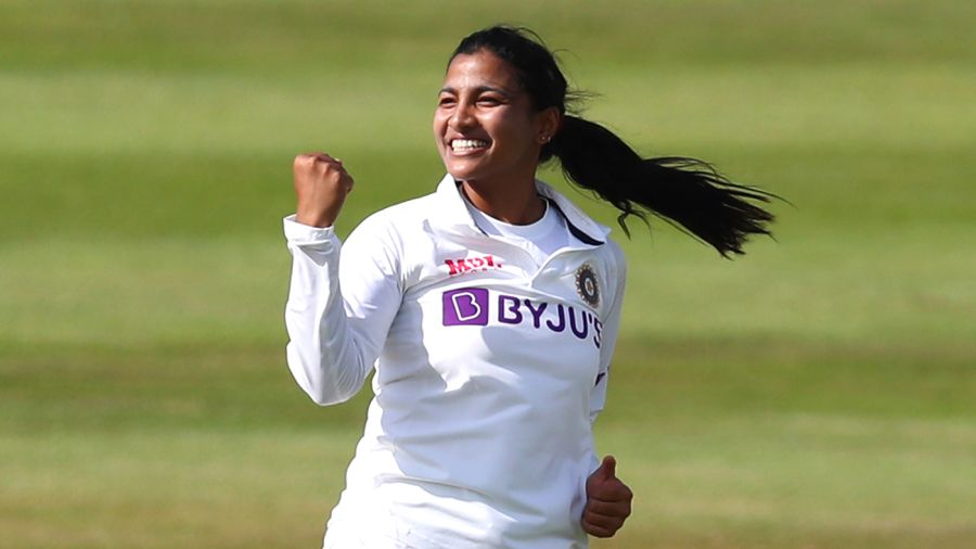 Sneh Rana took three wickets on the first day of her Test debut Getty Images