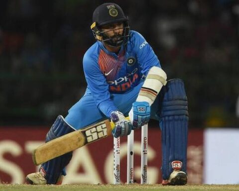 Dinesh Karthik in action against Bangladesh at the Nidahas Trophy final in Colombo – AFP