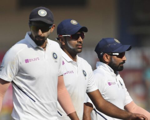 Indian players Ishant Sharma, left, Ravichandran Ashwin, center, and Mohammed Shami