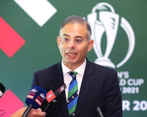 Manu Sawhney at the ICC Women's Cricket World Cup 2021 Tournament Launch in Wellington, New Zealand. - GETTY IMAGES