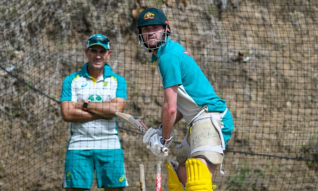 Dan Christian in the nets ahead of the first T20 between Australia and West Indies at Darren Sammy Cricket Ground in Saint Lucia. Photograph: Randy Brooks/AFP/Getty Images
