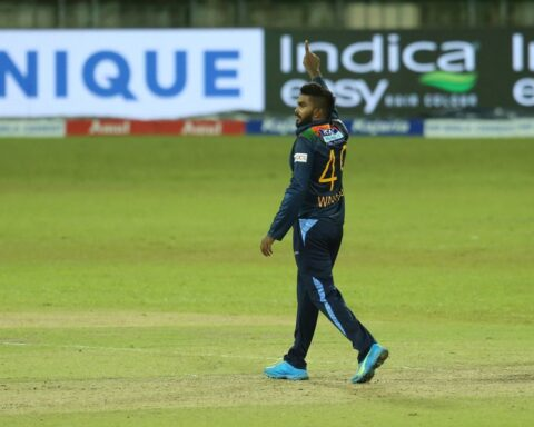 Wanindu Hasaranga Celebrates A Wicket in 1st T20I @SLC