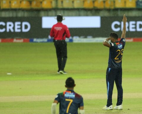 Chamika Karunaratne celebrates a wicket, Sri Lanka vs India, 1st T20I, Colombo, July 25, 2021© SLC