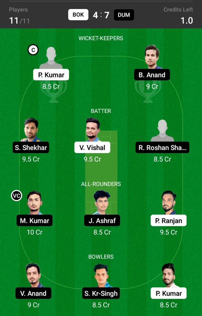BOK vs DUM Dream11 Prediction, Fantasy Cricket Tips, Dream XI Team, BYJU'S Jharkhand T20 2021