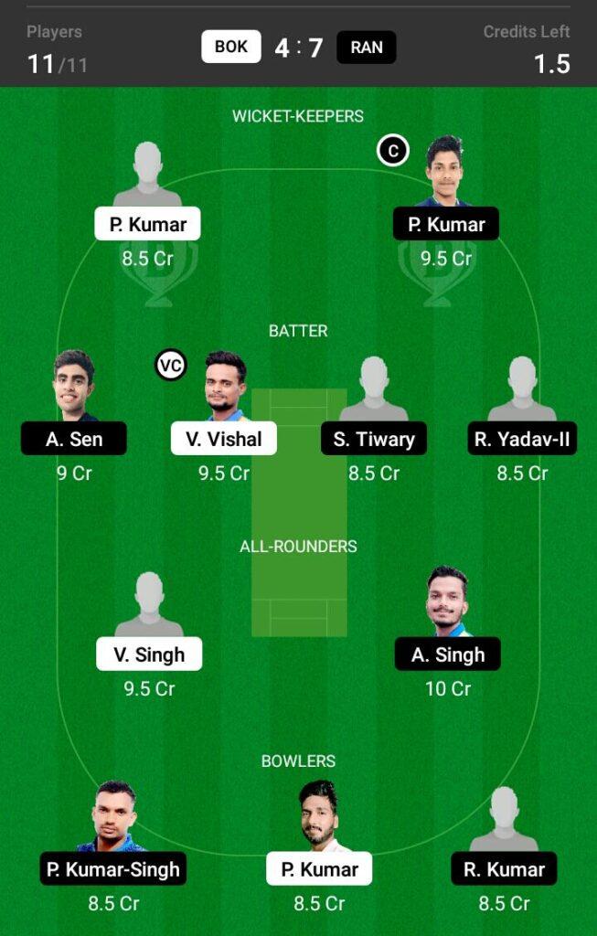 BOK vs RAN Dream11 Prediction, Fantasy Cricket Tips, Dream XI Team, BYJU'S Jharkhand T20 2021
