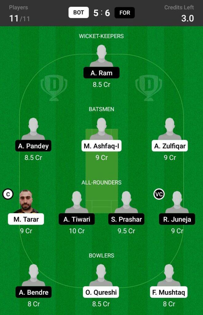 FOR vs BOT Dream11 Prediction, Fantasy Cricket Tips, Dream XI Team, ECS T10 Sweden, 2021