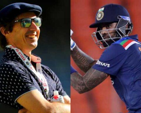 Brad Hogg and Suryakumar Yadav. (Photo Source: Getty Images)