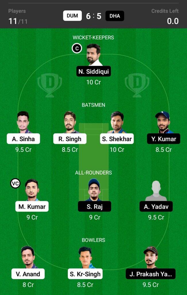 DUM vs DHA Dream11 Prediction, Fantasy Cricket Tips, Dream 11 Team, BYJU'S Jharkhand T20, 2021