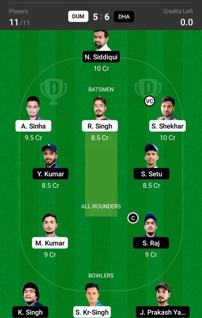 DUM vs DHA Dream11 Prediction, Fantasy Cricket Tips, Dream 11 Team, BYJU'S Jharkhand T20