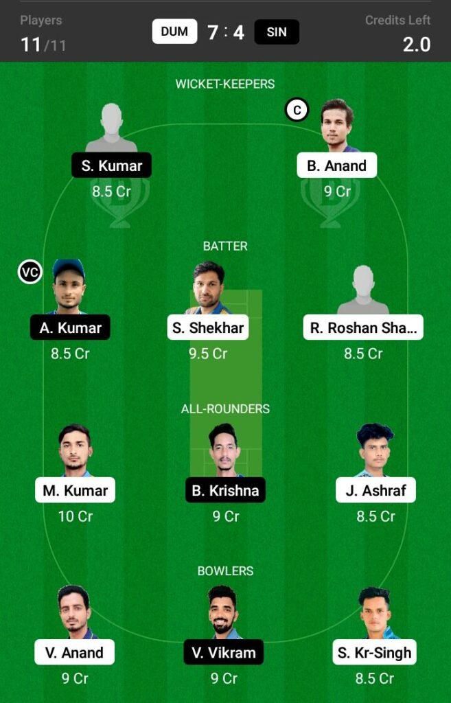 DUM vs SIN Dream11 Prediction, Fantasy Cricket Tips, Dream XI Team, BYJU'S Jharkhand T20 2021