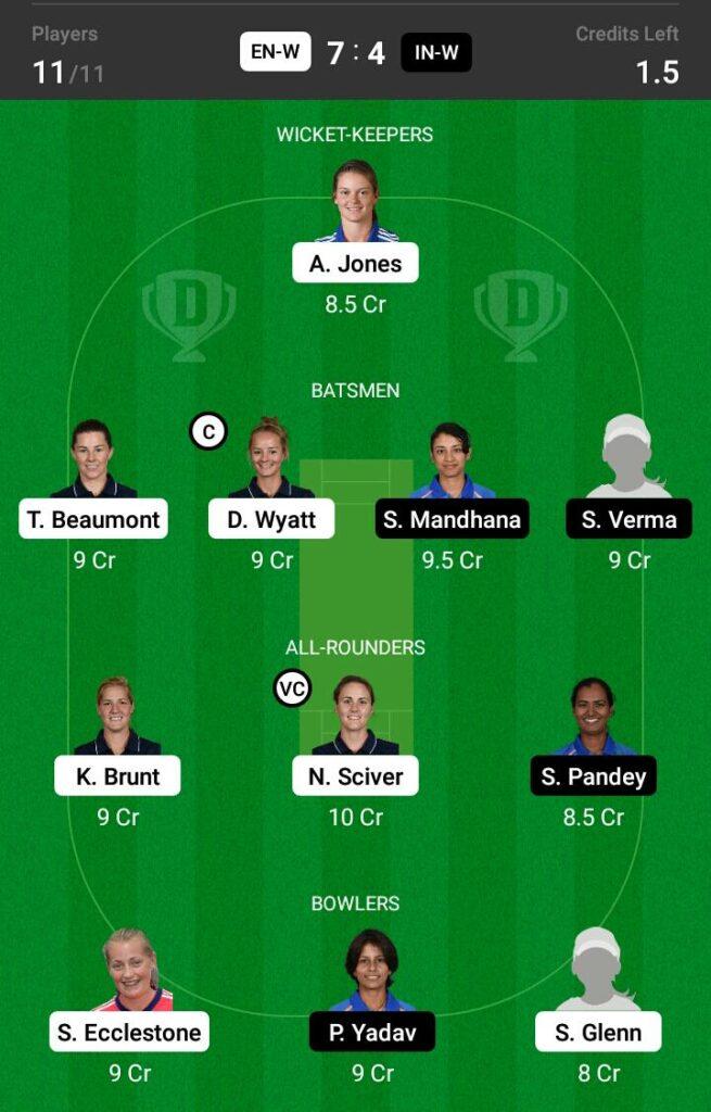 England Women vs India Women Dream11 Prediction, Fantasy Cricket Tips, Dream 11 Team