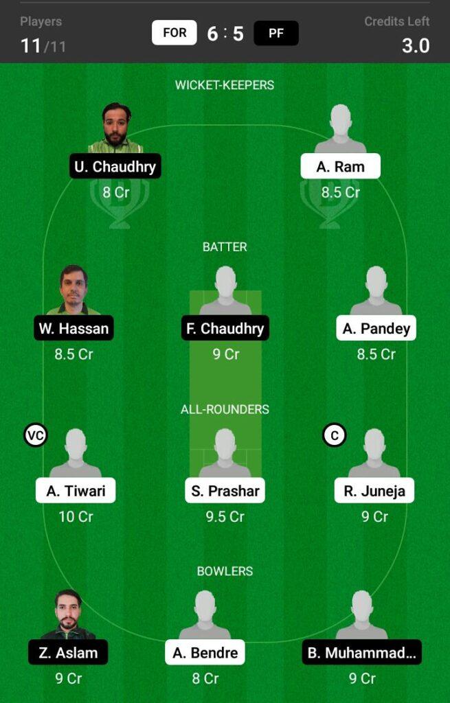 FOR vs PF Dream11 Prediction, Fantasy Cricket Tips, Dream XI Team, ECS T10 Sweden 2021